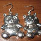 Tibetan Silver Pierced Earrings Panda Design New & Adorable #D280