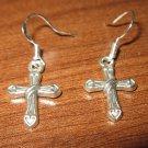 Tibetan Silver Pierced Earrings Cross Design Beautiful & New #D282