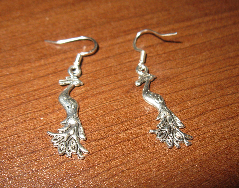 Tibetan Silver Pierced Earrings Peacock Design Beautiful & New #D281