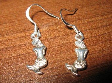 Tibetan Silver Pierced Earrings Mermaid Design Beautiful & New #D283