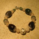 Agate and Quartz Gemstone Bangle Bracelet NEW #363