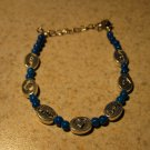 Bracelet Blue Turquoise and Silver Love Beads #594
