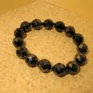 Bracelet Black Metallic Faceted Crystal 7-8mm Stretch #968