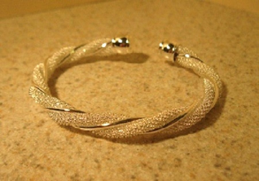Bracelet Silver Open Cuff Twisted Mesh Design NEW #836