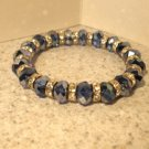 Bracelet Multi Sparkle Blue Quartz Faceted 6-7mm Crystal Stretch #864