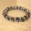 Bracelet Multi Sparkle Blue Quartz Faceted 6-7mm Crystal Stretch #864