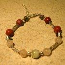 Agate, Quartz, Coral and Jasper Gemstone Bangle Bracelet NEW #290