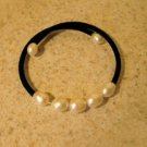 Black Cord Wrap with White Pearls Bangle Bracelet New #476