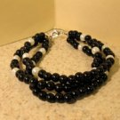 Black Jade with White Pearls Bangle Bracelet HOT! #433