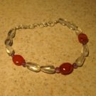 Red Coral With Purple Amethyst Gemstone Bangle Bracelet HOT! #362