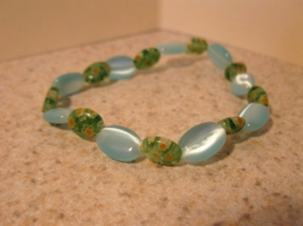 Blue Cat Eye with Green Bead Bangle Bracelet HOT! #876