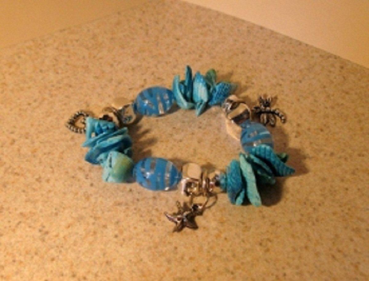 Bracelet Aqua Shell with Starfish Charm NEW & HOT! #659