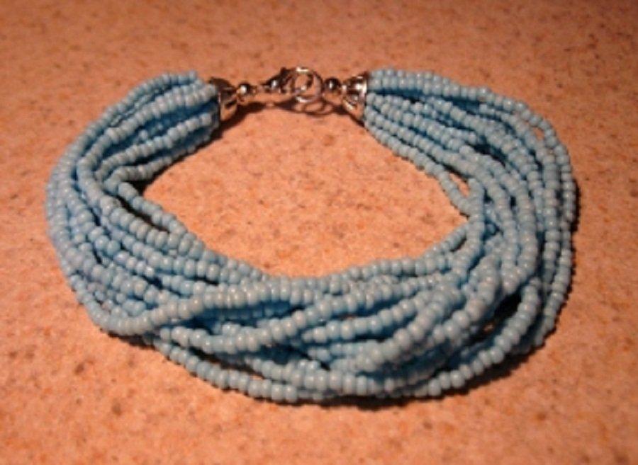 Bracelet 14 Strand Twisted Blue Coral #934