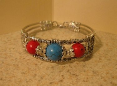 Tibetan Silver Blue Howlite and Red Coral Cuff Bangle Bracelet New #677