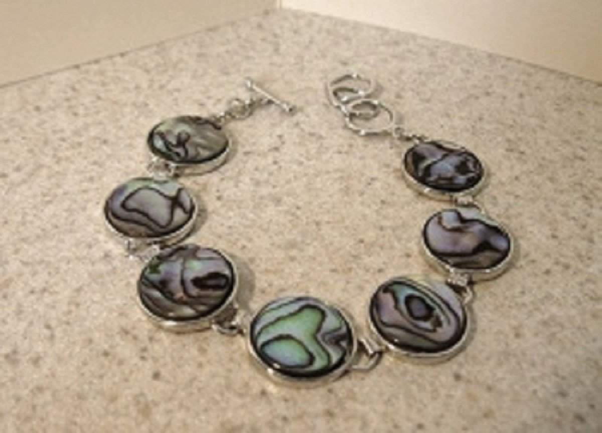 Silver Blue Abalone Shell Bangle Bracelet New #392