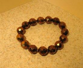 Bracelet Metallic Bronze Faceted Crystal 7-8mm Stretch #967