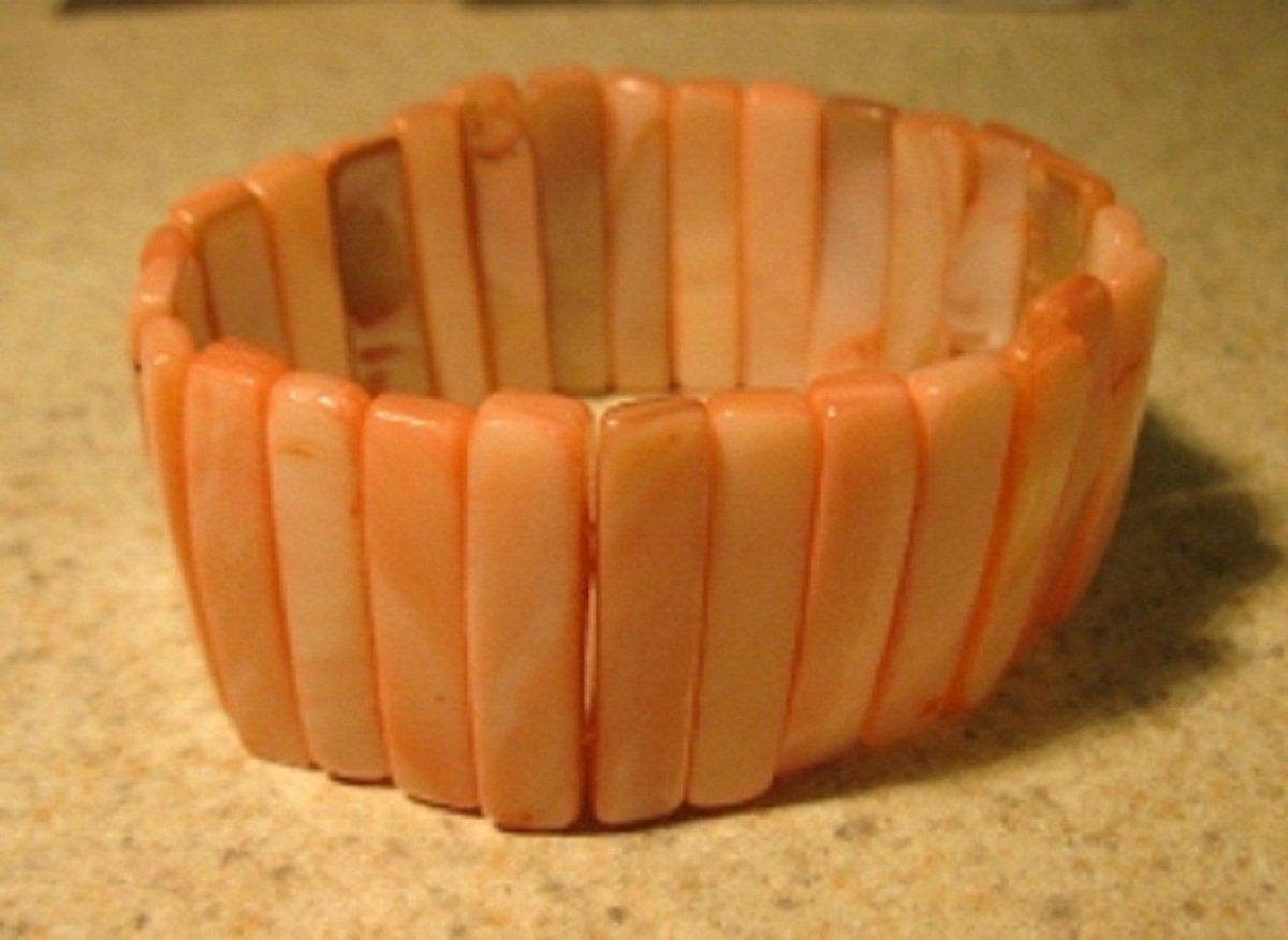 Genuine Pink Mother of Pearl Gemstone Bangle Bracelet New #336