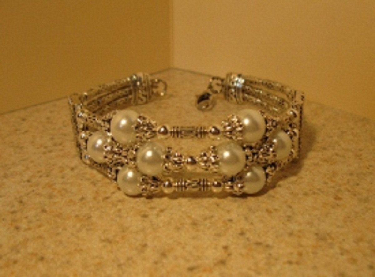Tibetan Silver White Pearl Cuff Bangle Bracelet New #873
