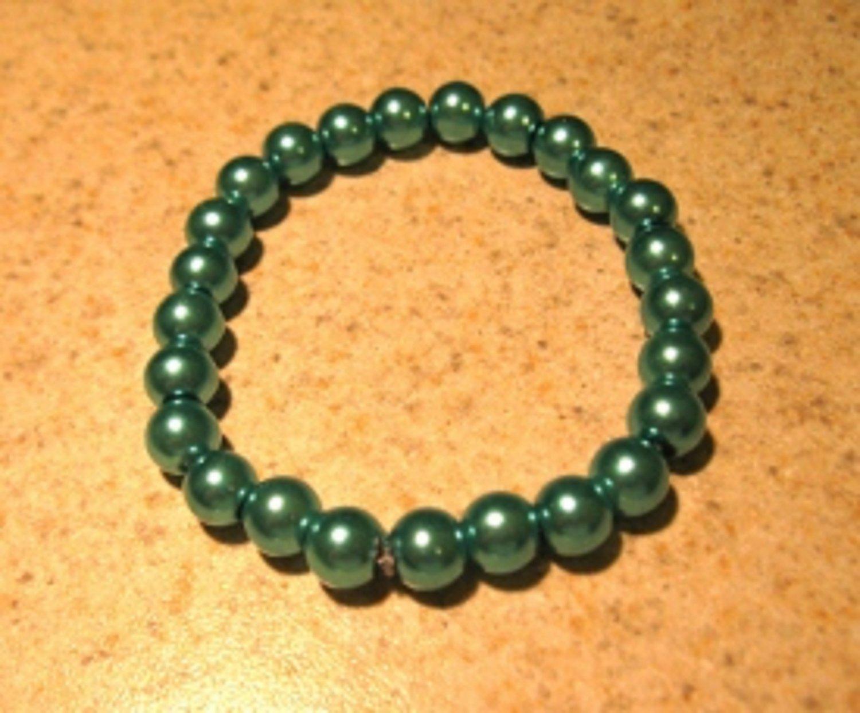Aqua Pearl Bangle Bracelet New #531