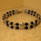 Tibetan Silver Black Jade Cuff Bangle Bracelet New #899