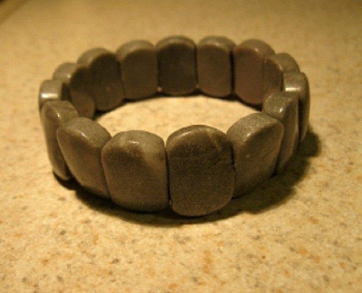 Genuine Gray Jasper Gemstone Bangle Bracelet New #396