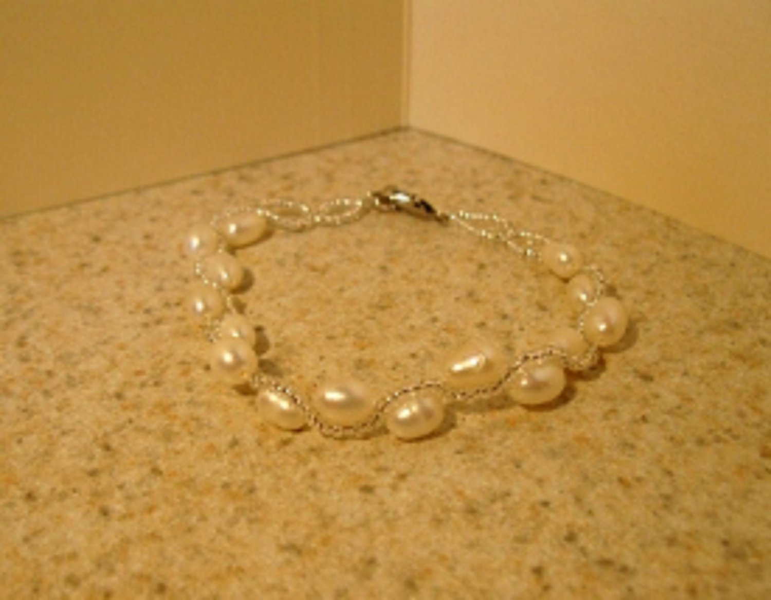 White Freshwater Pearl Bangle Bracelet New #869