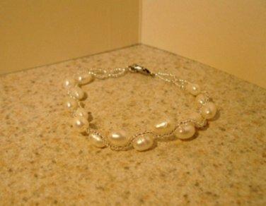 White Freshwater Pearl Bangle Bracelet New #869