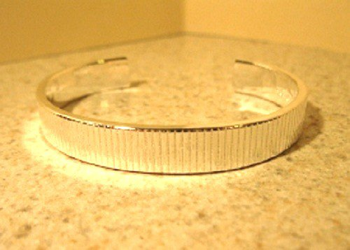 Bracelet Thick Silver Plated Etched Cuff Bangle #821