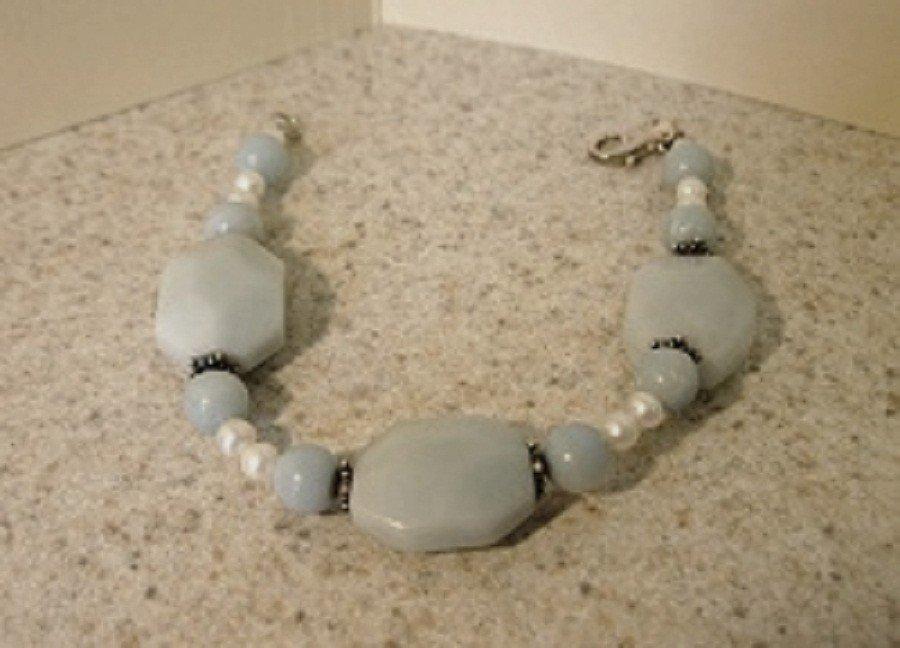 Genuine Green Aventurine & Pearl Gemstone Bangle Bracelet New #397