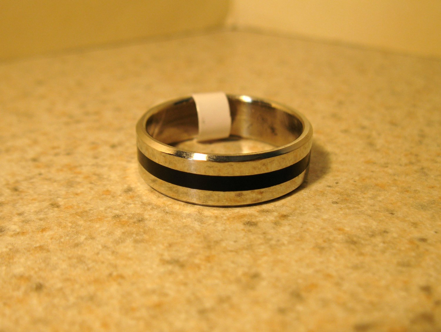 Silver with Black Wedding Band Rings Unisex Sizes 11 New #141