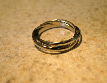 Ring Men Women Silver Plated Triple Ring Band Unisex Size 5.5 NEW! #790