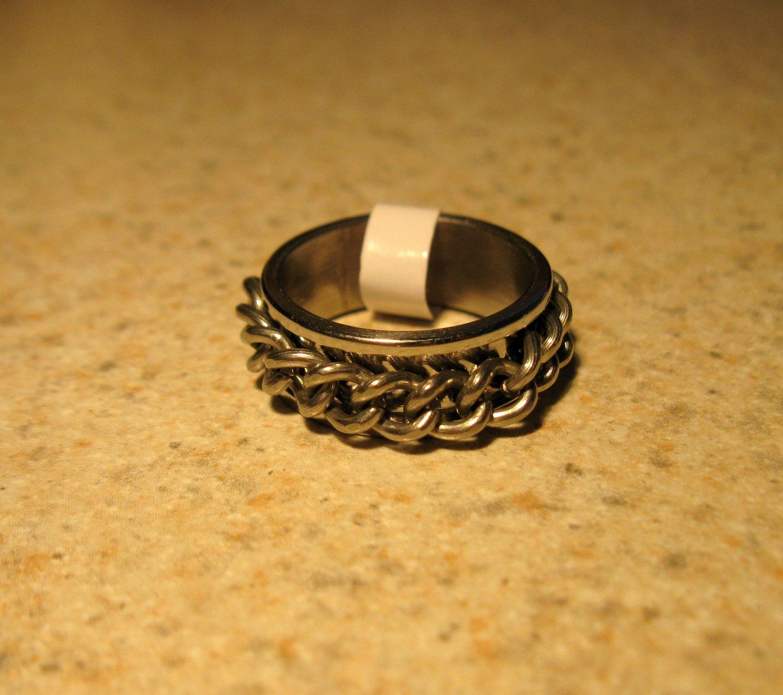 Ring Men Women Chain Design Band Unisex Size 7 NEW! #91