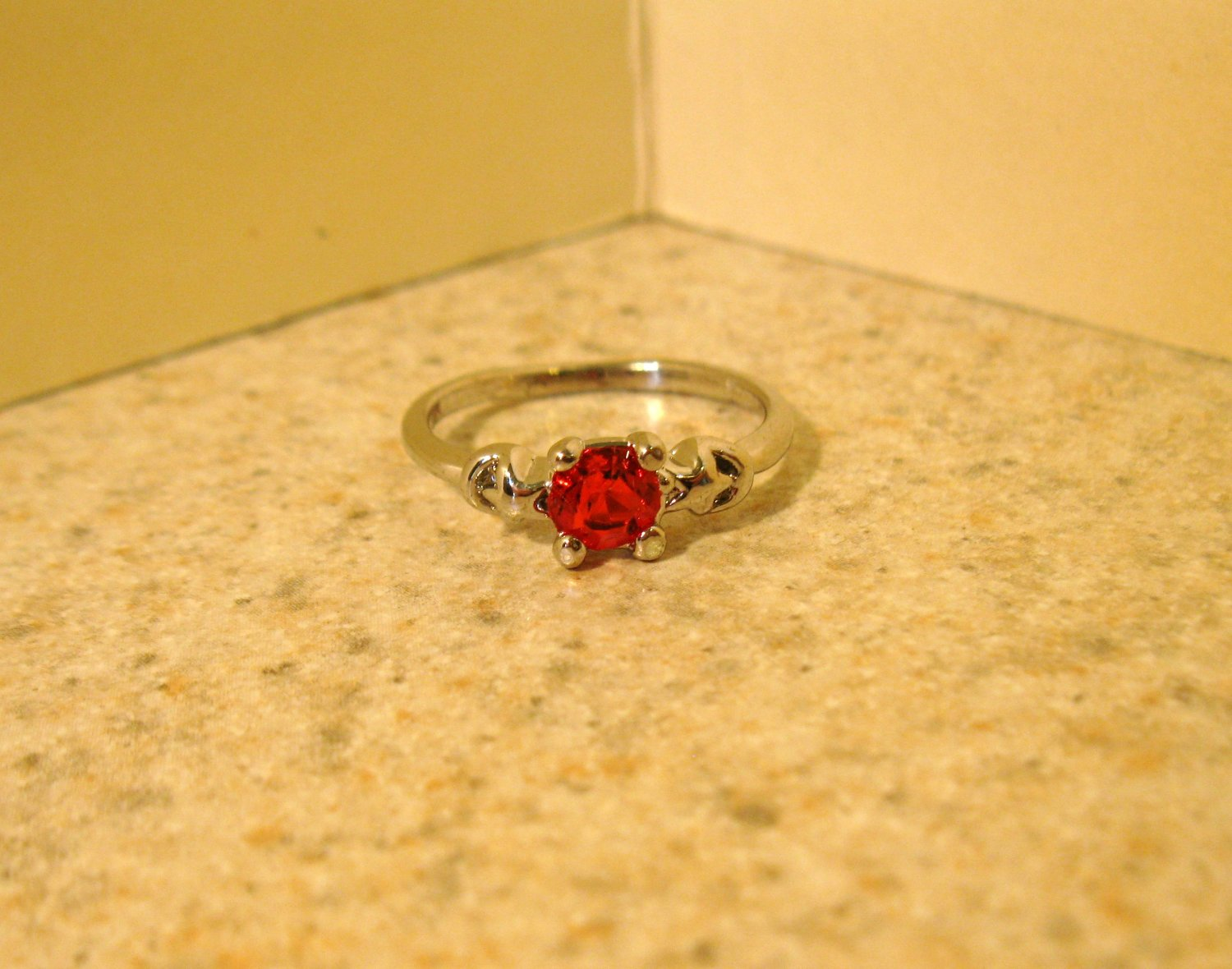 Lovely Red Ruby Solitaire Ring Size 6.5 New! #186