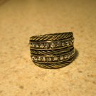 Gold CZ Wide Band Ring Unisex Size 9 HOT! #385