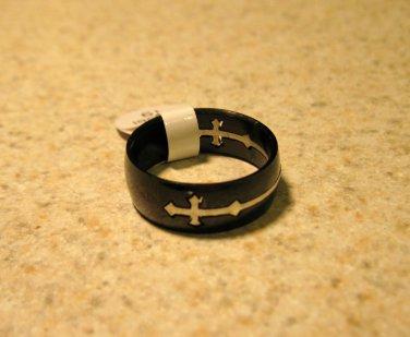 Black Cross Ring Unisex Size 8 HOT! #933