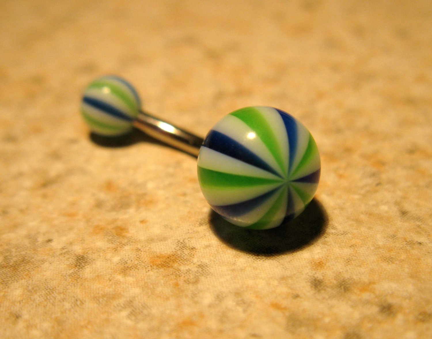 Green/Blue Peppermint Belly Navel Ring Body Jewelry NEW! #480B