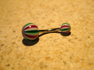Red/Green Peppermint Belly Navel Ring Body Jewelry NEW! #480C