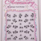 Nail Art Black & White Bouquet Design Manicure Decal Stickers #358