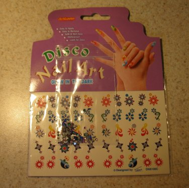 Disco Nail Art Stickers Glow in the Dark New! #20