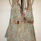 Beautiful Brown & Teal Green Lined Halter Top by Lane Bryant Size 14 Nice! #T916