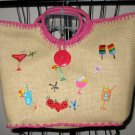 Beautiful Beige & Pink Straw Tote Purse Handbag Tropical Drink Design Nice #T905