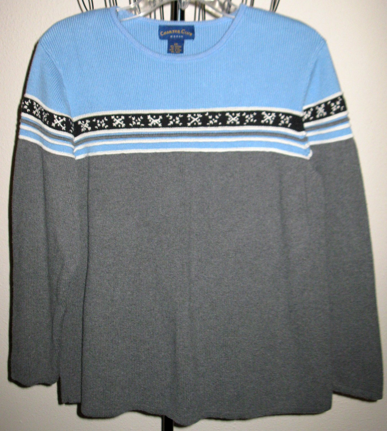 Beautiful Grey & Blue Sweater by Charter Club Size 2X Nice! #D393
