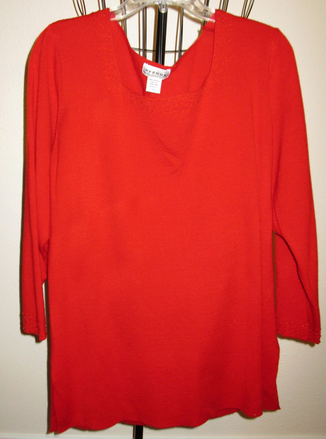 Red Square Neck Beaded Neckline Sweater by Avenue Size 2X Nice! #D381