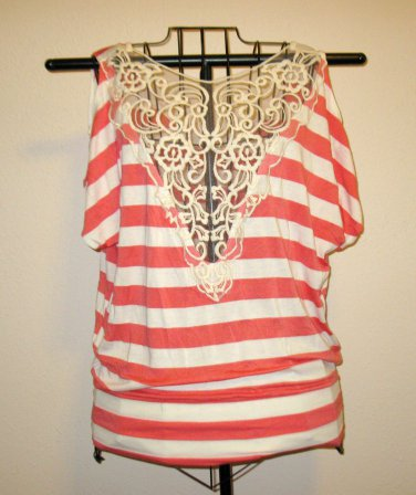 Pink & White Striped Top Shirt with Lace Panel Size XL Nice! #X118