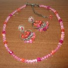 Beautiful Pink Crystal Necklace and Hoop Earring Set 6.5 in New! #K18