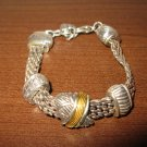 Beautiful Silver with Gold Trim Bangle Bracelet 6.5-7 in New! #K16