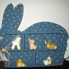 Blue Bunny Rabbit Nursery Room Wall Décor Shelf Memory Box Nice! #X90