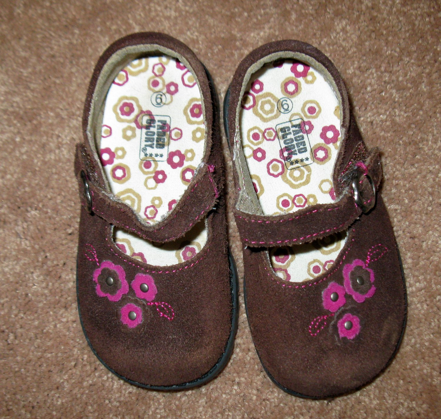 Adorable Brown Suede Shoes by Faded Glory Child Size 6 Nice! #X125