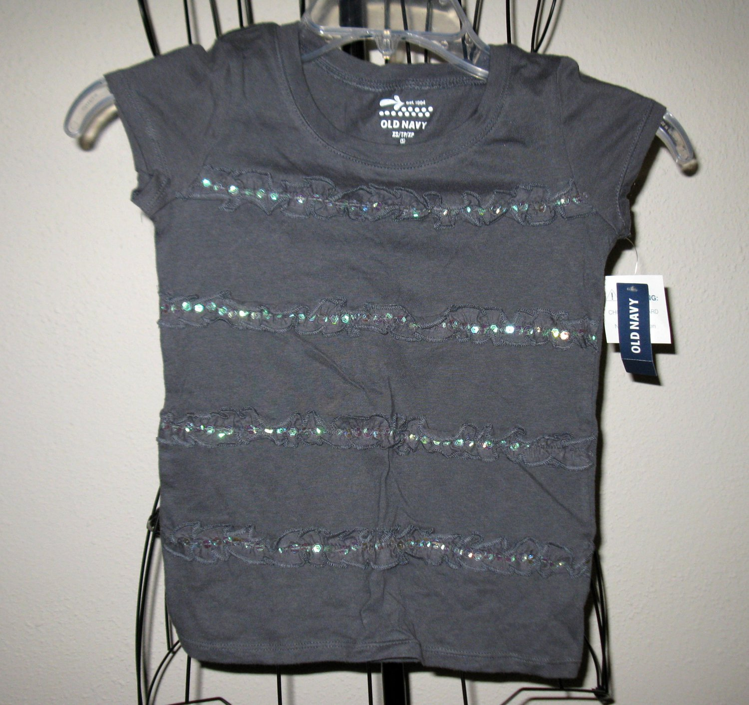 Beautiful Grey Sequined Top by Old Navy Child Size XS (5) New! #X54