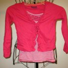 Adorable Pink 2 pc Top Shirt Sequin Embellishment Child Size S (6-6X) #X38